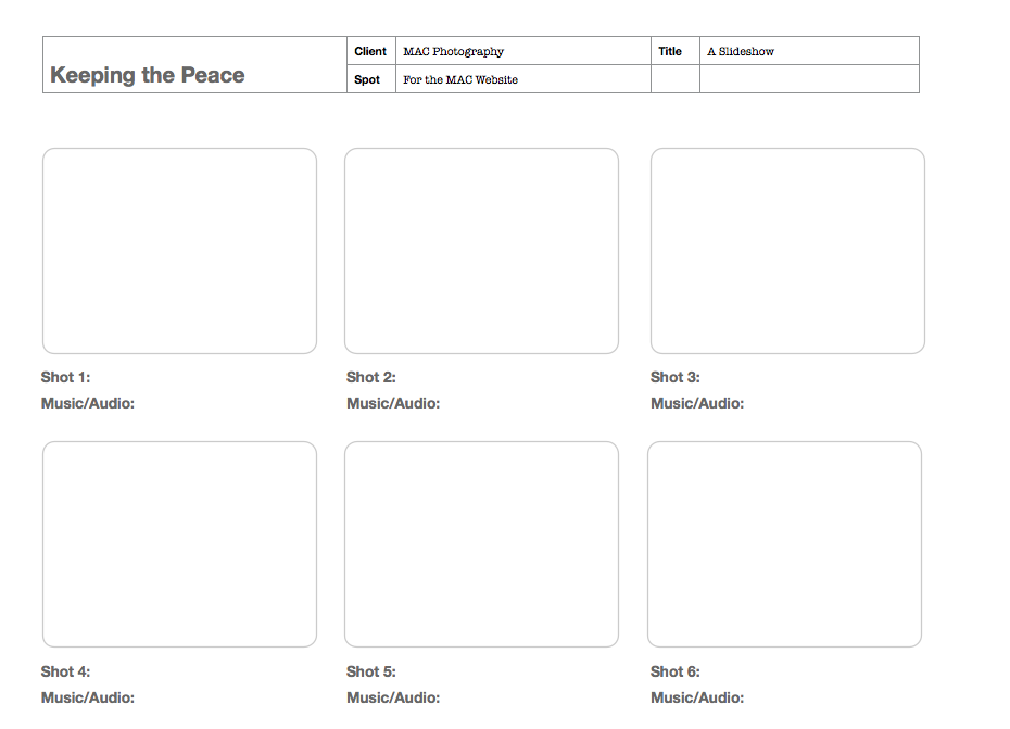 Storyboard Template | Astonish Me With Great Pix